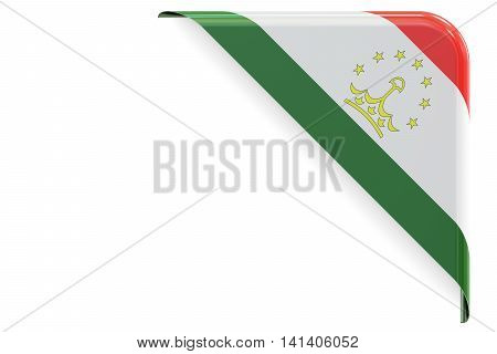Tajikistan flag corner button label. 3D rendering isolated on white background