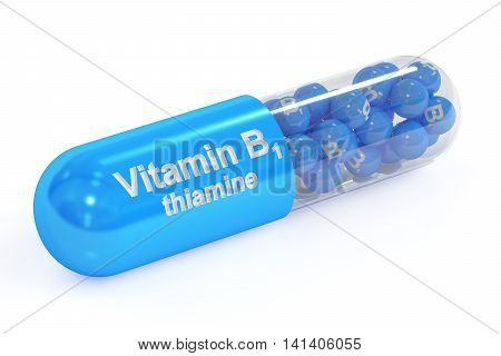 Vitamin capsule B1 3D rendering isolated on white background