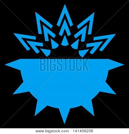 Viral Structure vector icon. Style is flat symbol, blue color, rounded angles, black background.