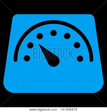 Weight Meter vector icon. Style is flat symbol, blue color, rounded angles, black background.