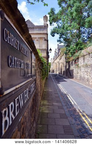 Oxford University Christ church Street in close