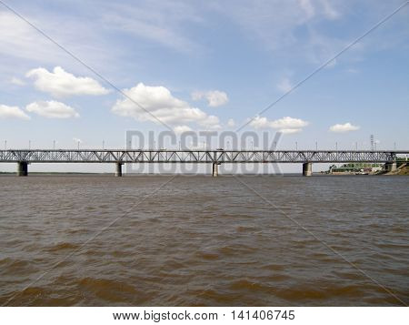 The bridge across the Amur River. Khabarovsk. Further East. Russia