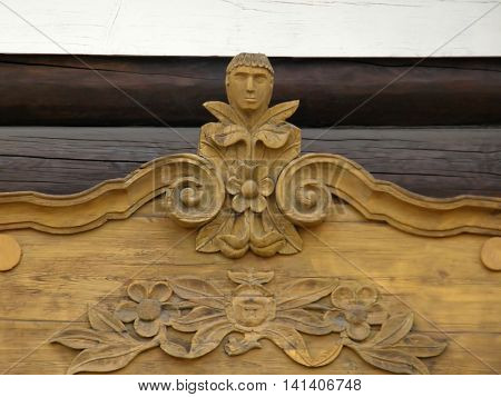 Carving on the window frames in old wooden house. Ulan-Ude. Buryatia