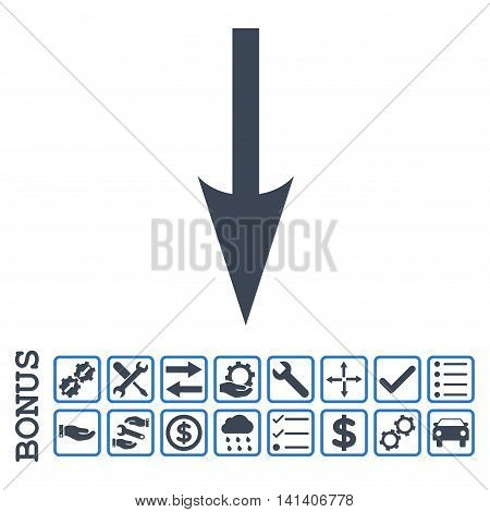 Sharp Arrow Down icon with bonus pictograms. Vector style is flat iconic symbol, smooth blue colors, white background. Bonus style is bicolor square rounded frames with symbols inside.