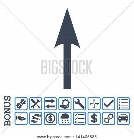 Sharp Arrow Up icon with bonus pictograms. Vector style is flat iconic symbol, smooth blue colors, white background. Bonus style is bicolor square rounded frames with symbols inside.