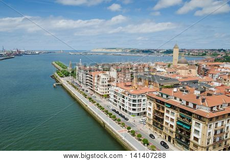 GETXO, near BILBAO. July 27th 2016. A view of the port of Getxo from the top walkway of its transporter bridge. Getxo is an increasingly popular destination for tourists who venture outside of Bilbao.