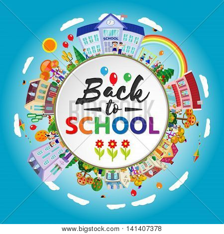 Back to school round banner. Circle frame with children, going to school. Flat style. Vector illustration. Lettering inside.