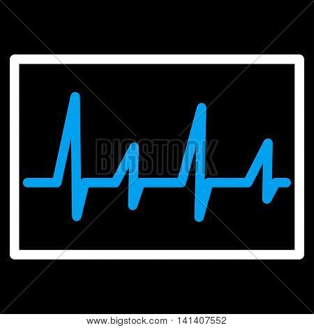 Cardiogram vector icon. Style is bicolor flat symbol, blue and white colors, rounded angles, black background.
