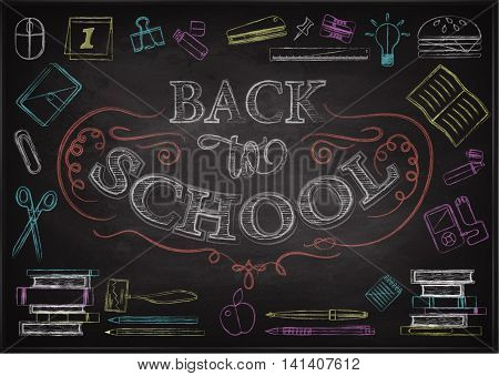 Back To School Typographical Background On Chalkboard With School Icon Elements. Colored chalk on blackboard
