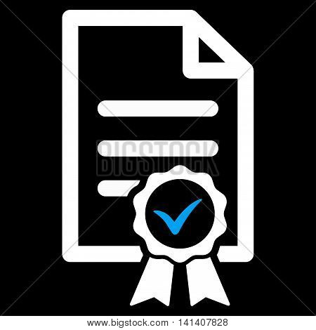 Certified vector icon. Style is bicolor flat symbol, blue and white colors, rounded angles, black background.