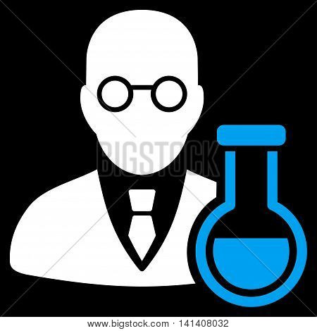 Chemist vector icon. Style is bicolor flat symbol, blue and white colors, rounded angles, black background.