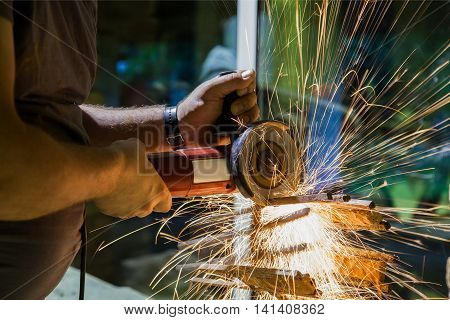 cutting and grinding metal construction with cutter