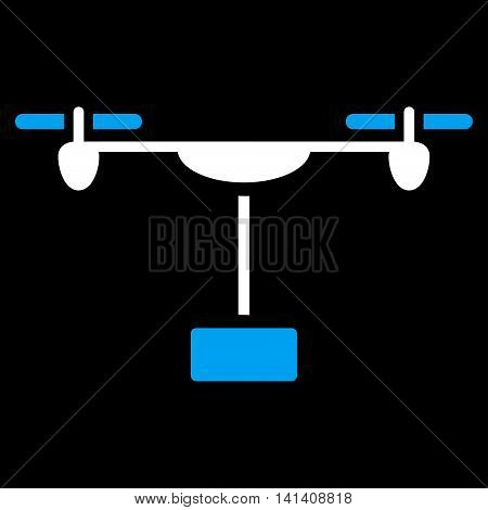 Drone Shipment vector icon. Style is bicolor flat symbol, blue and white colors, rounded angles, black background.