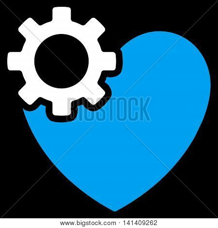 Heart Surgery vector icon. Style is bicolor flat symbol, blue and white colors, rounded angles, black background.