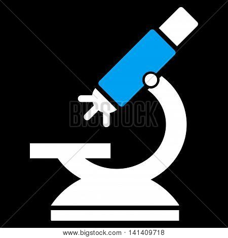 Labs Microscope vector icon. Style is bicolor flat symbol, blue and white colors, rounded angles, black background.