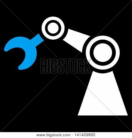 Manipulator vector icon. Style is bicolor flat symbol, blue and white colors, rounded angles, black background.