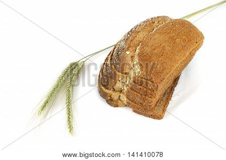 whole grain wheat bread and wheat isolated on white background