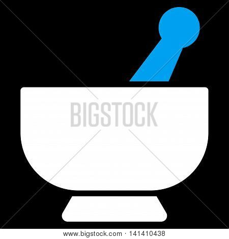 Mortar vector icon. Style is bicolor flat symbol, blue and white colors, rounded angles, black background.