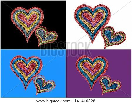 Conceptual image of love with two vivid color shape hearts close one to each other .Vintage hand drawing on blackboard love concept copy space available. Photo collage