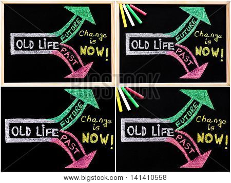Photo collage of conceptual images with message Change is now handwriting with chalk on blackboard colored chalk in the corner lifestyle change concept