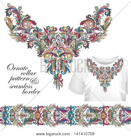 Neckline embroidery fashion, print, decor, lace, paisley, stock vector. Luxury flowers collar designe. Seamless border bonus. Pastel pink blue beige green