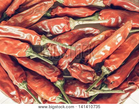 Hot Chili Pepper Vegetables Vintage Desaturated