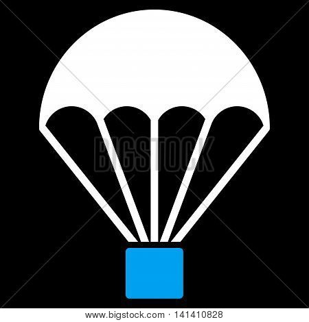 Parachute vector icon. Style is bicolor flat symbol, blue and white colors, rounded angles, black background.