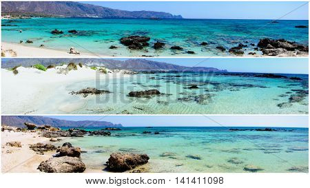 Photo Collage Of Panoramic Landscapes From Elafonissi Beach, Crete Island, Greece