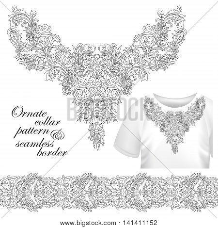 Neckline embroidery fashion, print, decor, lace, paisley, stock vector. Luxury flowers collar designe. Seamless border bonus. Outline embroidery.