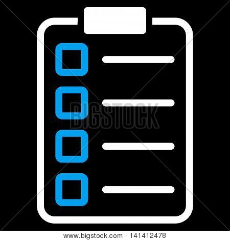 Test Form vector icon. Style is bicolor flat symbol, blue and white colors, rounded angles, black background.