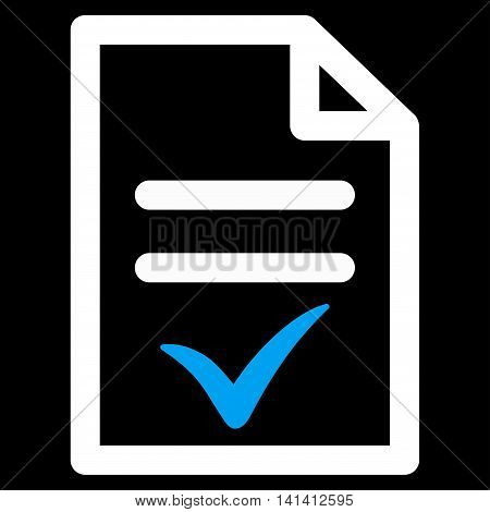 Valid Document vector icon. Style is bicolor flat symbol, blue and white colors, rounded angles, black background.