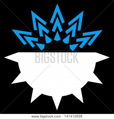 Viral Structure vector icon. Style is bicolor flat symbol, blue and white colors, rounded angles, black background.