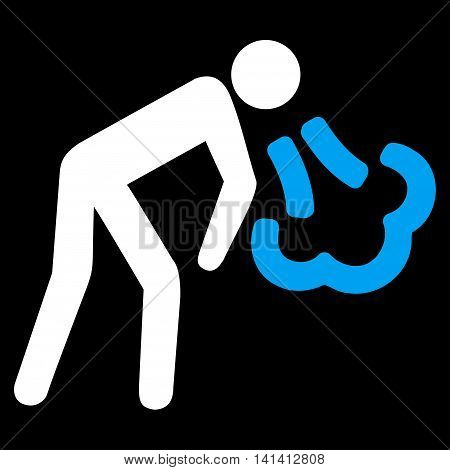 Vomiting vector icon. Style is bicolor flat symbol, blue and white colors, rounded angles, black background.