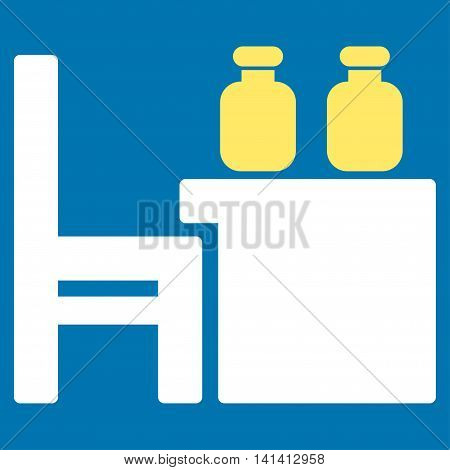 Apothecary Table vector icon. Style is bicolor flat symbol, yellow and white colors, rounded angles, blue background.