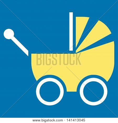 Baby Carriage vector icon. Style is bicolor flat symbol, yellow and white colors, rounded angles, blue background.