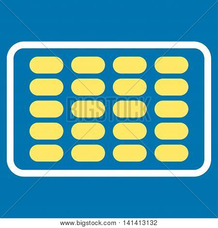 Blister vector icon. Style is bicolor flat symbol, yellow and white colors, rounded angles, blue background.