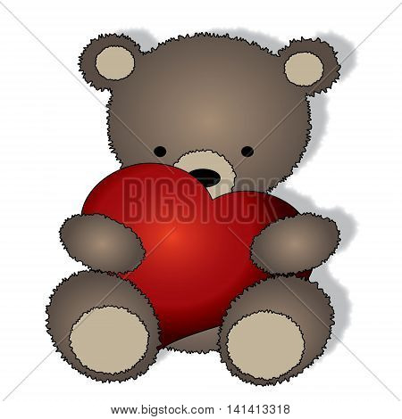 Teddy bear with the big heart -isolated on the white background
