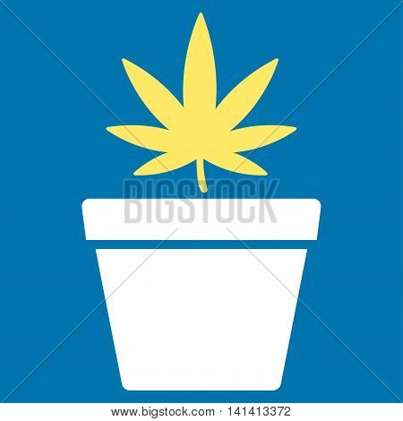 Cannabis Pot vector icon. Style is bicolor flat symbol, yellow and white colors, rounded angles, blue background.