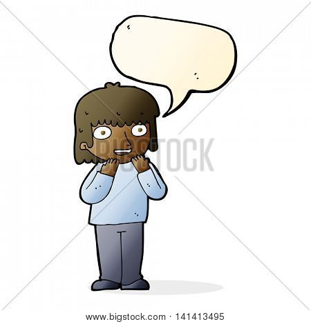cartoon excited person with speech bubble