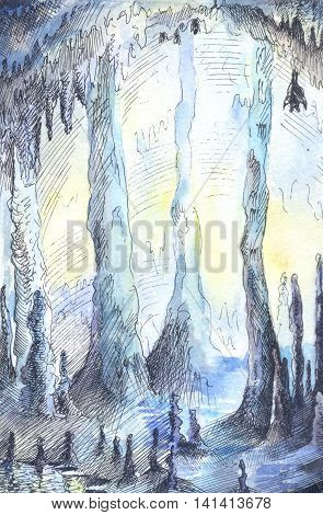 Hand-drawn illustration of cave in blue colours. Watercolor stalactites