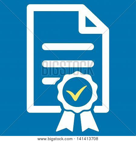Certified vector icon. Style is bicolor flat symbol, yellow and white colors, rounded angles, blue background.