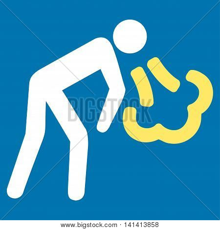 Cough vector icon. Style is bicolor flat symbol, yellow and white colors, rounded angles, blue background.