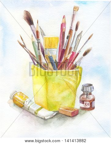 Stilllife with art materials in watercolor. yellow mug brush paint tube. Concept of art