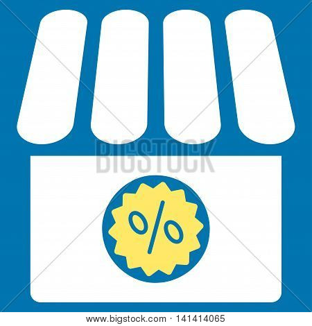 Drugstore Sale vector icon. Style is bicolor flat symbol, yellow and white colors, rounded angles, blue background.