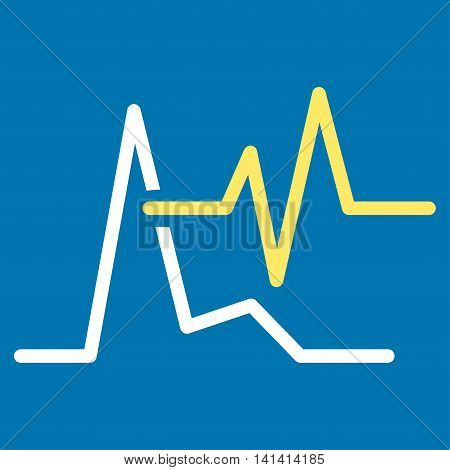 Ecg vector icon. Style is bicolor flat symbol, yellow and white colors, rounded angles, blue background.