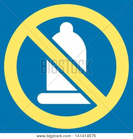 Forbidden Condom vector icon. Style is bicolor flat symbol, yellow and white colors, rounded angles, blue background.