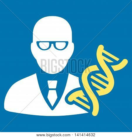 Genetic Engineer vector icon. Style is bicolor flat symbol, yellow and white colors, rounded angles, blue background.