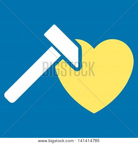 Heart Hummer vector icon. Style is bicolor flat symbol, yellow and white colors, rounded angles, blue background.