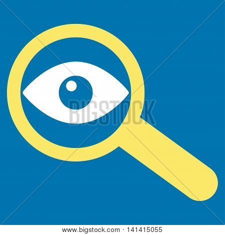 Investigate vector icon. Style is bicolor flat symbol, yellow and white colors, rounded angles, blue background.