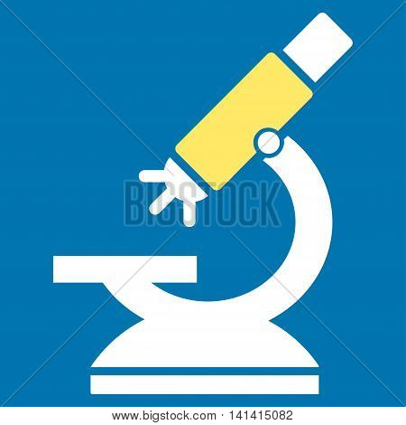 Labs Microscope vector icon. Style is bicolor flat symbol, yellow and white colors, rounded angles, blue background.